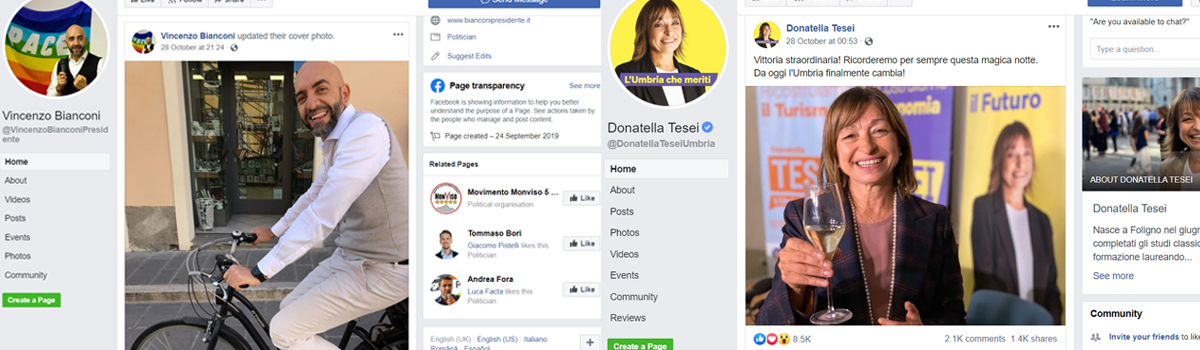 Campagna sui social, due strategie diverse di marketing politico per Tesei e Bianconi